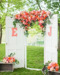 How clever is this summery wedding altar?  We love how the couple used old doors in their decor!  #theknotweddings #theknotvirginia : @katelynjames I Design: @annaburkeevents I Flowers: @amandaveronee