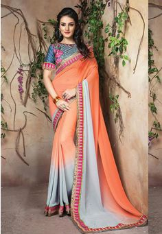 #Orange And #Grey #Georgette #Saree With #Blouse  #Orange And #Grey #Georgette #Saree designed with Zari,Resham Embroidery With Stone Work And Lace Border  INR:  2,088.00  With Exclusive Discounts  Grab:http://tinyurl.com/z9vozwh