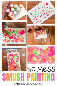 No-mess painting for babies and toddlers! Sensory play pretty enough to hang on the wall!