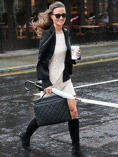 Lace dress, black biker and boots, Chanelish purse and a clear umbrella. Pippa Perfect for Vancouver!