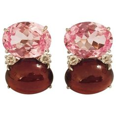 Preowned Grande Gum Drop™ Earrings With Pink Topaz And Cabochon Garnet... ($5,500) ❤ liked on Polyvore featuring jewelry, earrings, pink, stud earrings, garnet drop earrings, pink diamond jewelry, pink diamond earrings and garnet earrings