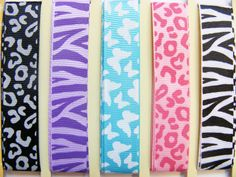 Pretty set of ribbon with animal print and butterflies