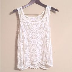 Xhilaration Embroidered Lace Top Creme colored embroidered lace top Xhilaration Tops Tank Tops