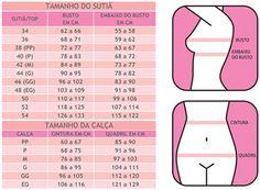 626192757 Tabela de Medidas Padrão  Tabela DeMillus  Tabela Esbelt  Tabela Marcyn