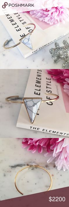 """Olivia"" Bracelet    White Marble Triangle The trendy ""Olivia"" bracelet can be worn solo or stacked for the chicest arm party around! It is perfect for an outdoor music festival or backyard barbecue. It has a dainty gold wrap around cuff with a white & bl"