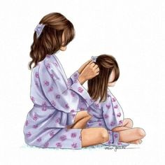 The times mum used to do my hair.wish she still did 😂 this illustration is available on Etsy just in time for Mothers day coming up 💜 Mother And Daughter Drawing, Mother Daughter Quotes, Mother Art, Mom Daughter, Mother And Child, Mother Daughters, Sarra Art, Girly M, Girly Drawings