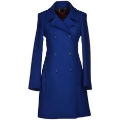 Dondup Coat ($305) ❤ liked on Polyvore featuring outerwear, coats, jackets, bright blue, double breasted coat, long sleeve coat, lapel coat, blue coat y dondup