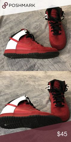 best authentic 8a8ea c5149 Nike Dunks Suede and leather Red, Black   white suede and leather Nike  Dunks size 12 Nike Shoes Sneakers