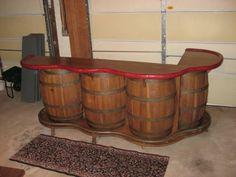Finally a use for these barrel Wine Barrel Bar, Barrel Table, Bourbon Barrel, Whiskey Barrels, Selling Furniture, Diy Furniture, Workshop Stool, Barris, Barrel Projects