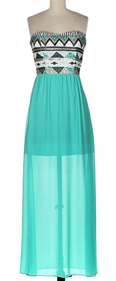 Mint Maxi with Boho Sequin Bodice