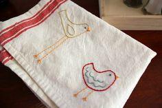 Scandinavian bird embroidered dish towels
