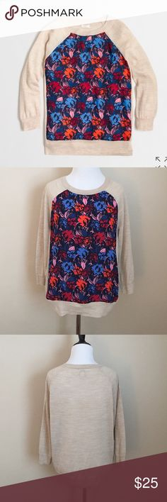 J.Crew Silky Front Three-Quarter Sleeve Sweater Beautiful light-weight sweater from J.Crew. Features a silky floral print panel on front and three-quarter sleeves. Great condition! J. Crew Sweaters