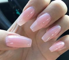 Light pink glossy nails