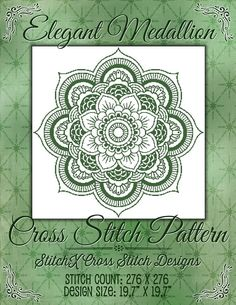 Elegant Medallion Cross Stitch Pattern Geometric Monochrome Design - Geometric Mandala -  Instant Download Pdf - Modern Design