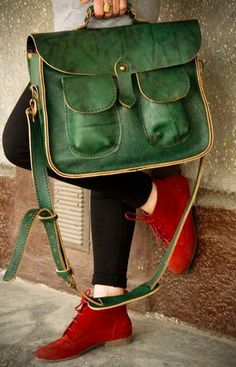 20 Looks with leather handbags. Glamsugar.com Retro Style Geniune Leather Green Messenger Crossbody Bag via Etsy