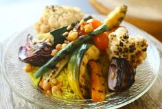 Mujadra, a dish of rice, lentils, roasted vegetables, the perfect vegetarian dish