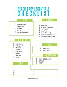 A free printable checklist of items to take to the beach when you have a baby