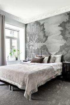Wall Murals Bedroom, Bedroom Wall Designs, Bedroom Wallpaper, Garden Mural, Scandinavian Bedroom, Hotel Lobby, Bedroom Vintage, Bedroom Inspo, Grey Walls