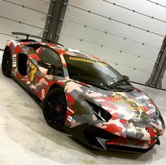 Lamborghini Aventador Super Veloce Coupe painted in Rosso Bia and wrapped in camo for the 2016 Gumball 3000 Photo taken by: @afrojack on Instagram (He is also the owner of the car)