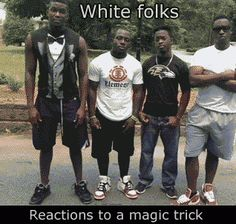 Reactions to a magic trick...the guy in the tuxedo shirt has the best reaction!