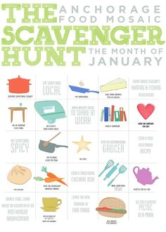 Food Scavenger Hunt- this could be redone for older kids