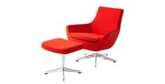 Happy lounge chair from HighTower - The Happy lounge chair, from designer Roger Persson, can be playful or more corporate depending on the fabric choice. Happy can be specified in a Highback or Lowback, with a headrest and there are 3 base options - Mirror Chrome Disc, Stainless Steel Sled, or Polished Aluminum 5-star (Auto-Return available for disc base). Happy can be specified to meet CAL133 certification.  Happy offers a full family of products from stacker to sofa.