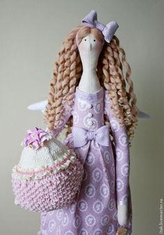 Куклы Тильды ручной работы. Ярмарка Мастеров - ручная работа Лавандовый Ангел с пироженком. Handmade.