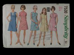 Dressmaking pattern; Simplicity - No.7530 - Collarless - A line dress. Paper pattern, size 12. 1968