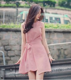 Summer Sleeveless Pink Women Skirt Round-neck Cotton Bow Waist Bandage Skirt A-line Lace up Skirts Plus Size vestidos de festa Simple Dresses, Cute Dresses, Beautiful Dresses, Casual Dresses, Short Dresses, Frock Fashion, Fashion Dresses, Mini Frock, Korea Dress