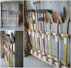 DIY Garage Tool Organiser made from PVC pipe