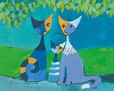 Rosina Wachtmeister: Festival della Famiglia Katzen Leinwand-Bild 24x30 Wandbild in Möbel & Wohnen, Dekoration, Bilder & Drucke | eBay