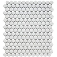 Powder Room floor; alternating wide bands of matte and glossy; Merola Tile Metro 11-1/2 in. x 9-7/8 in. Matte White Porcelain Penny Mesh-Mounted Mosaic Tile  (Model # FDXMPMW; Internet # 202647813)