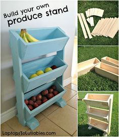 Simple DIY produce stand // Perfect for storing fruits and veggies or even kids' toys! Three levels + easy to build. Vegetable Storage Rack, Diy Storage Rack, Vegetable Bin, Pallet Storage, Produce Stand, Produce Storage, Rustic Furniture, Diy Furniture, Furniture Plans