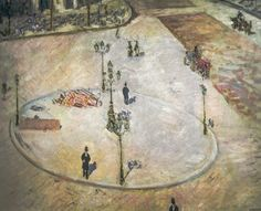 Gustave Caillebotte - A Traffic Island - Boulevard Haussamann, 1880 (Private Collection) viewed at The Painter's Eye Exhibit at National Gallery of Art Washington DC  From the Exhibit Catalog