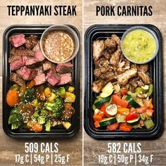 Here are two great low carb options for you to prep for your weekly lunches. Teppanyaki Steak recipe from The Meal Prep Manual Edition (available in the sample version as well!) and Pork Carnitas with Salsa Verde recipe from The Meal Prep Manual Ed Steak Recipes, Lunch Recipes, Cooking Recipes, Healthy Recipes, Healthy Snacks, Lunch Meal Prep, Healthy Meal Prep, Healthy Eating, Healthy Weight