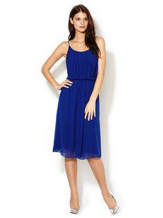 Summer Electric Blue | Sandro Rituel Pleated Spaghetti Strap Dress