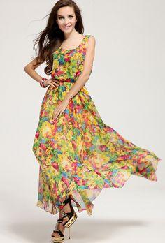 Yellow Sleeveless Floral Pleated Chiffon Dress - Fashion Clothing, Latest Street Fashion At Abaday.com