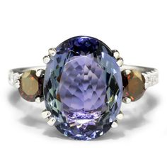 7.08ctw GIA Tanzanite and Fancy Red Diamond 3 Stone White Gold Ring 14kt