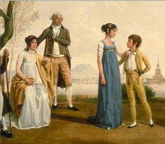 Detail of Jacques SABLET le Jeune,  Portrait de famille devant un port, 1800.