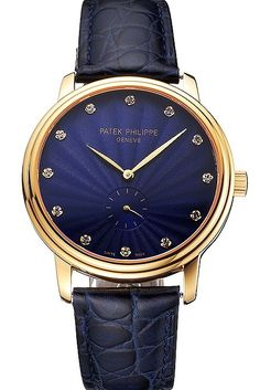 Mens Replica Patek Philippe Calatrava Blue Guilloche Dial Yellow Gold Case And Bezel Watch With Blue Leather Strap