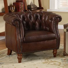 get your leather fix... I like the tufted look on this one.@Overstock - This distinctive leather club chair is a handsome addition to your home. Its cherry-brown leather offers upscale style, and its high-density foam padding contributes to essential comfort. http://www.overstock.com/Home-Garden/Testbrand-Victoria-Top-Grain-Leather-Club-Chair/5140095/product.html?CID=214117 $489.99