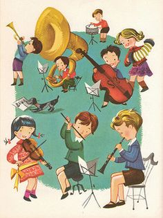 """My Retro Reads: """"Music Round the Town"""" edited by Max T. Krone, Irving Wolfe, Beatrice Perham Krone & Margaret Fullerton, illustrated by Val Samuelson Vintage Illustration Art, Character Illustration, Music Images, Music For Kids, Vintage Children's Books, Childrens Books, Illustrators, Instruments, Character Design"""