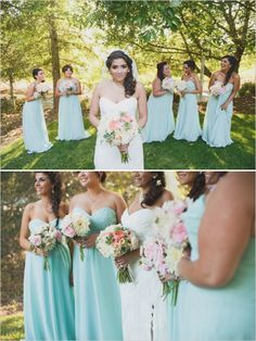 Bridal Party - Bridesmaids gowns in different shades of turquoise ...