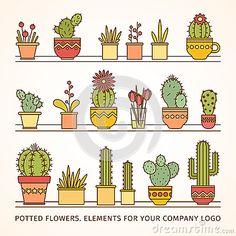 Grupo Mexicano Do Cacto Fotos De Stock – 157 Grupo Mexicano Do Cacto Imagens De Stock, Fotografia & Imagens De Stock - Dreamstime Cactus Drawing, Plant Drawing, Cactus Art, Cactus Flower, Flower Pots, Doodle Icon, Doodle Art, Zentangle, Cacti And Succulents