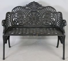 BLACK PAINTED WROUGHT IRON GARDEN BENCH - by Potomack Company