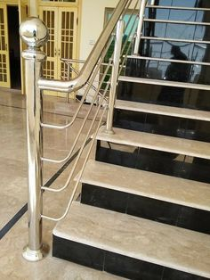 Staircase Interior Design, Staircase Railing Design, Tiled Staircase, Staircase Handrail, Bedroom False Ceiling Design, Stainless Steel Stair Railing, Glass Balcony Railing, Steel Railing Design, House Main Gates Design