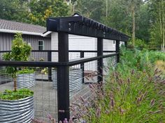 Camano Island modern welded wire fence with arbor and galvanized vegetable garden container lavendar by Sublime Garden Design (800x531)