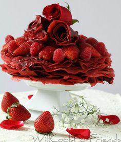 red velvet crepes | Red Velvet Crepes with chocolate mascarpone whipped cream