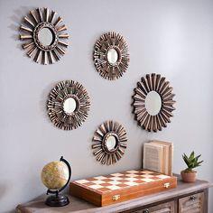 Bronze and Gold Starburst Mirrors, Set of 5 from Kirkland's Gold Starburst Mirror, Sunburst Mirror, Wall Mirrors Set, Mirror Set, Interior Design Living Room, Living Room Decor, Bedroom Decor, Home Decor Ideas, Diner Decor