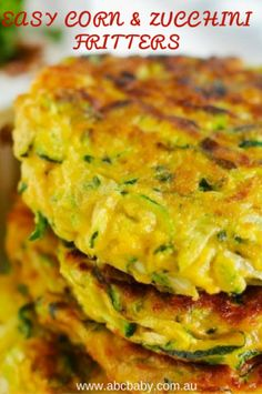 These easy Corn and zucchini fritters are a great alternative to taking sandwhichs to work or school. The best thing about them is you really can add anything you like to them, provided the mixture is not to moist they always work well. Cream Corn Fritters, Corn Fritters Healthy, Zucchini Corn Fritters, Veggie Fritters, Vegetable Dishes, Vegetable Recipes, Vegetarian Recipes, Baby Food Recipes, Cooking Recipes